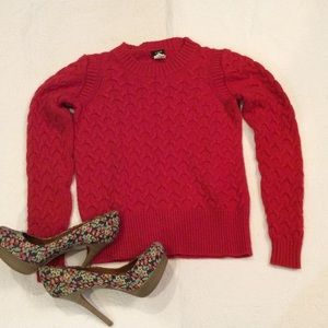 Red j crew cable knit sweater
